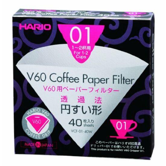 Hario V60 fehér papírfilter 40db (VCF-01-40W)