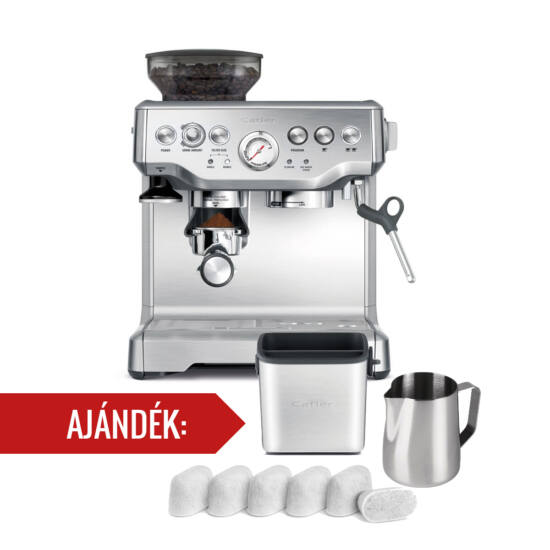 Catler ES 8013 Eszpresszó kávéfőző kávédarálóval  + ajándék filter csomag + zacc tartó + tejgőzölő