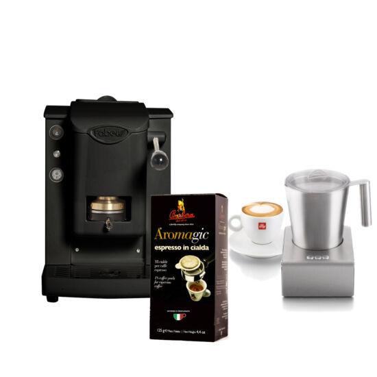Faber mini SLot Plast, fekete + tejhabosító + kávé csomag