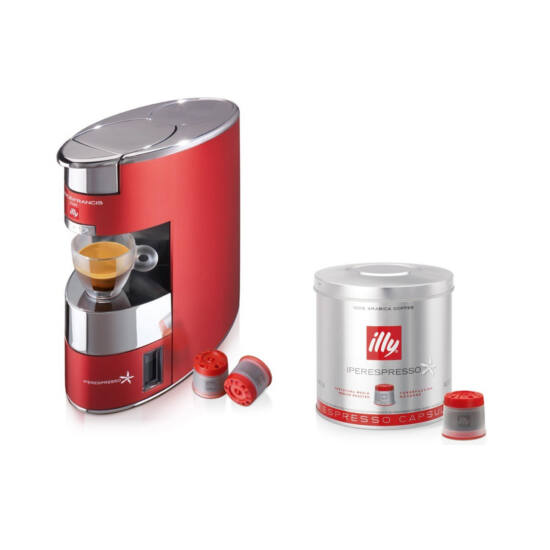 illy Francis Francis X9 Iper kapszulás kávéfőzőgép, piros + Piros kapszula csomag