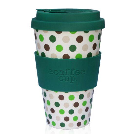 Ecoffee Cup, Green Polka kávéspohár, 400ml
