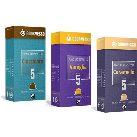 """Gourmesso csoki,vanília, karamell """"A"""" csomag  Nespresso kompatibilis kávékapszula"""