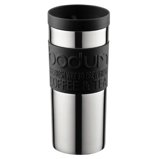 Bodum TRAVEL MUG Úti bögre, rozsdamentes acél falú, 0.35 l, fekete színű