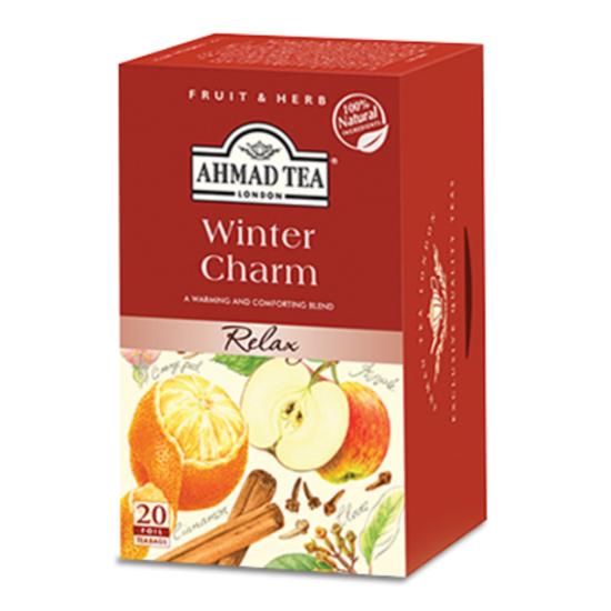 Ahmad Tea Relaxing Winter Charm, alma és fahéj ízesítésű gyümölcs tea, aromazáró tasakban, 20 db
