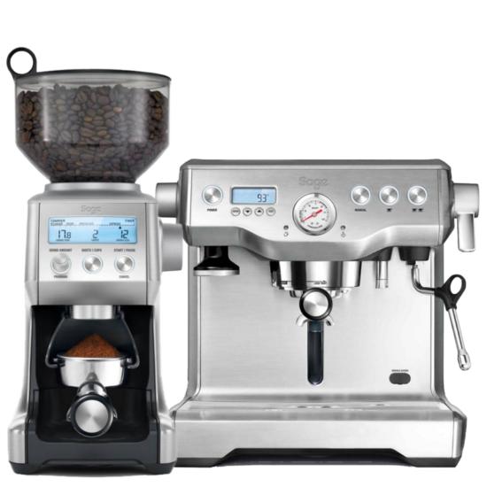 """Sage BES920BSS """"Dual Boiler"""" eszpresszó kávéfőzőgép & SAGE BCG820BSS Automata kávédaráló"""