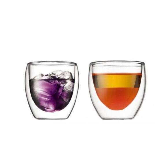 Bodum PAVINA Dupla falú üveg pohár szett (2 db), 0.25 l