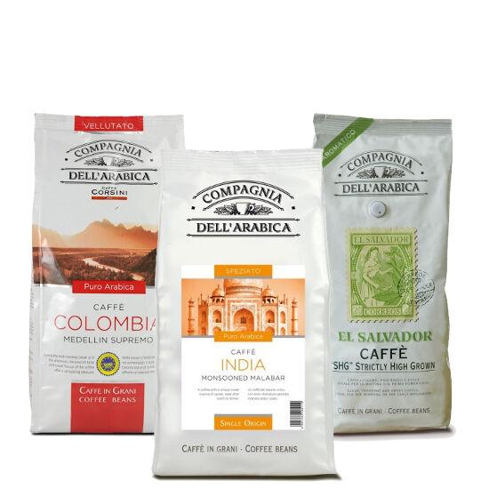 "Compagnia Dell' Arabica kóstoló csomag ""A"" szemes kávé, 3x250g"