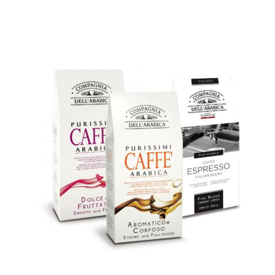 Compagnia  Dell' Arabica őrölt kávé válogatás 3x250g - Espresso,Dolce&Fruttato,Aromatico&Corposo